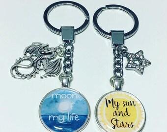 My sun & stars, Moon of my life, game of thrones, Daenerys Targaryen, keyring keychain, set of 2 keyrings, Khal Drogo