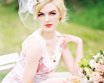 Wedding Headpiece Veil Ivory Bridal Fascinator
