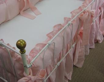 Ruffled  Linen Crib Bedding in Cameo Pink-Matching Ruffled Crib Blanket-Washed Linen Crib Sheet-Ruffled Crib Bumpers-Storybook Crib Skirt