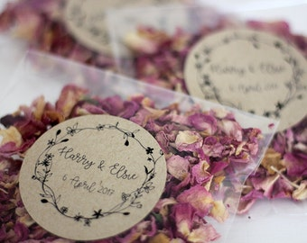 Personalised Wedding Confetti Toss  ~ 'Wilde' Organic Indian Rose Petal Eco Confetti ~ Biodegradable ~ 18 Different Designs To Choose From