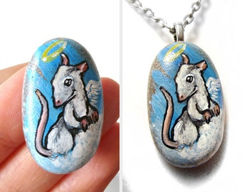 White Rat Necklace, Pet Keepsake, Memorial Gift for Her, Angel Jewelry, Hand Painted Pebble Art, Animal Painting, Pet Loss, Mouse Pendant