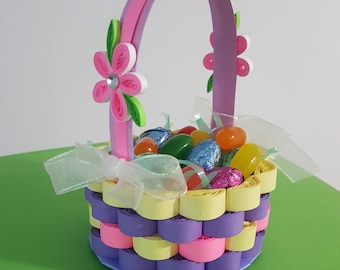 easter basket, miniature baskets, paper quilling, easter paper quilling