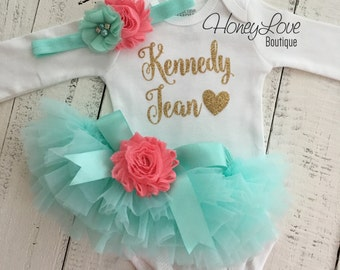PERSONALIZED gold glitter shirt bodysuit, mint aqua coral flower tutu skirt bloomers, newborn infant baby girl take home hospital outfit set