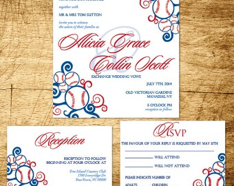 Baseball wedding invitation template download, baseball wedding invite, wedding invitation download, blue and red wedding invitation