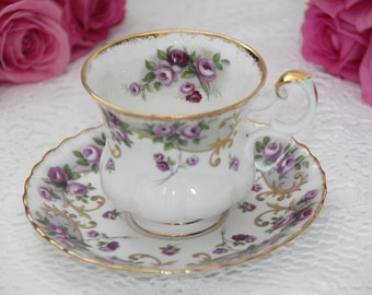 Royal Albert Sheraton Series Lavinia Demitasse Tea Cup and Saucer 1960s vintage Montrose Teacup and Saucer set