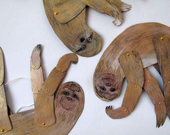 Golden Sloth / Articulated Decoration  / Hinged Beasts Series