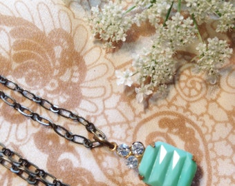Vintage Mint Green Glass Pendant with Diamond Rhinestone and Antiqued Brass Necklace