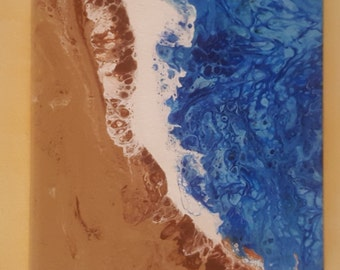 Sandy beaches 6x6 canvas acrylic abstract