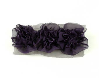 Fabric flower synthetic purple sewing or craft, 14 x 5cm