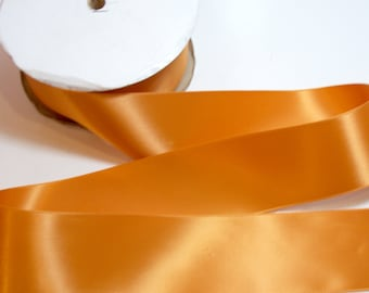 Orange Ribbon, Offray Pumpkin Satin Ribbon 2 1/4 inches wide x 10 yards, Double-Face, SECOND QUALITY FLAWED
