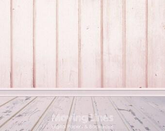 Pink Wood, Newborn Baby Girl Photography Backdrop, Photo Studio Floor Drop, Weathered Wood Digital Paper, Grunge Background 2ft, 61cm