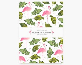 Notebook, A6 , carnet de notes, carnet, flamant rose, journal intime, petit carnet, illustration, cadeau, motif exotique