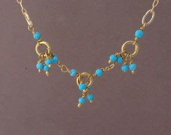 Turquoise Link Gold Necklace