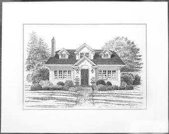 Pen and ink house portrait, custom house portrait, pen and ink drawing, ink home portrait