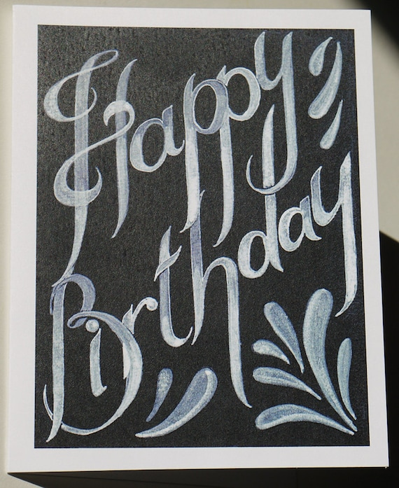 Happy Birthday Card In Black And White Blank With