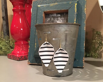 Pinched Leather Teardrop Earring in Black and White Pinstripes