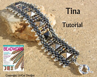 Tutorial Tina Superduo and Pyramid beads  Beadwork Bracelet PDF