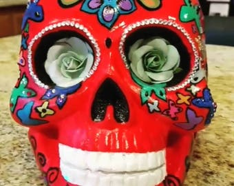 Hand Painted Plaster Day of the Dead Skull