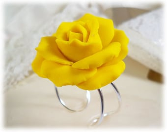Large Yellow Rose Ring - Yellow Rose Jewelry, Yellow Flower Ring
