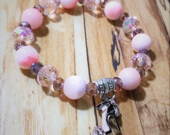 Pink High Heel with Pink Crystal Bead Bracelet
