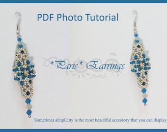 Photo Tutorial ENG- ita ,DIY earrings,*Paris* earrings ,PDF Pattern 48 with swarovski,czechmates triangel and seed beads