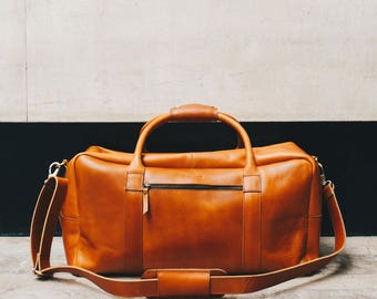 Leather weekender bag overnight duffle bag cabin travel holdall luggage for men - Niche Lane Pioneer