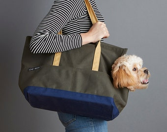 Canvas Pet Tote Olive & Navy - Dog Carrier
