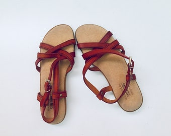 80s Leather Sandals Flats Oxblood Leather Ankle Strap Rubber Sole 6 M 35 36 made in USA by Sunjuns Bass Unused