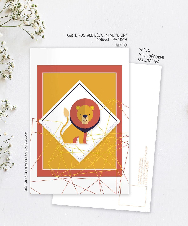 carte d corative lion carte postale illustration enfant et. Black Bedroom Furniture Sets. Home Design Ideas