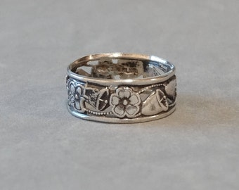 Antique Wedding Ring Band Sterling Silver Art Nouveau Forget Me Not Flowers Wedding Bells Hand Cut  Size 6.75 Vintage Jewelry