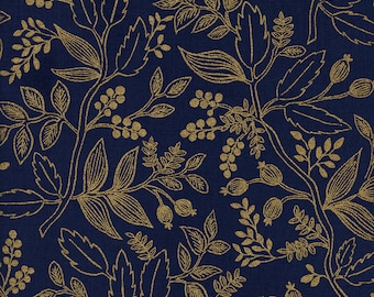 Rifle Paper Co Fabric - Les Fleurs Queen Anne Navy Metallic - Cotton + Steel Fabric - Quilting Cotton - Gold Floral - Fabric by the Yard