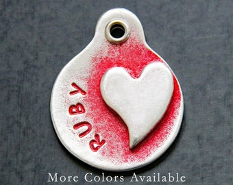 Pet ID Tags - Personalized Dog Tags - Heart Pet Tag - Custom - Dog Collar Tags