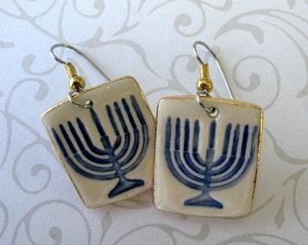 Menorah Dangle Porcelain Earrings