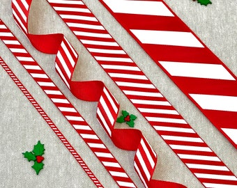 """Christmas Ribbon - Red & White Candy Stripe Ribbon - 1/8"""" 3/8"""" 5/8"""" 1"""" 1 1/2"""" - Christmas Gift Wrap - Traditional Christmas - Holiday Craft"""