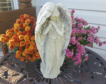 Praying angel statue, concrete angel, concrete statue, concrete art, garden statue, concrete garden statue, religious, faith, gift