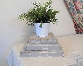 Antique Architectural Salvage Wood Pedestal / Column Base ~ Vintage Shabby Chic White / Gray Patina ~ Plant / Candle Holder Centerpiece