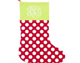 Free Embroidery Christmas Stocking Family Christmas Green top with White Dots Monogrammed Christmas Stocking Personalized