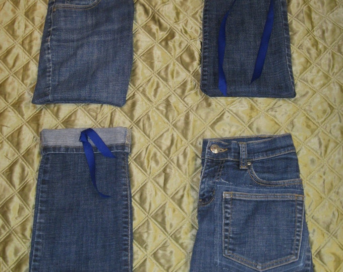 Woolpops Blue Denim Drawstring Project Bag