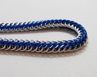 Handmade Chainmail Bracelet 18g Half Persian Royal Blue & Bright Silver Anodized Aluminum Maille Jewelry