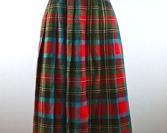 Red Plaid A-Line Pleated Skirt