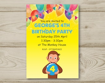 Curious George, Monkey, Balloons, Bunting, Birthday Party Invitations Personalised