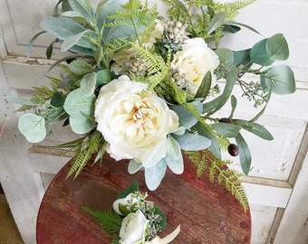 Wedding Bouquet with Matching Boutonniere Artificial Cream Flowers with Greenery Hand-Tied Vintage-Style