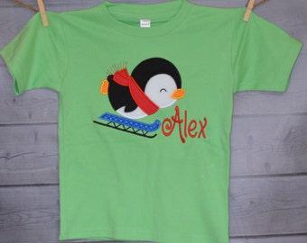 Penguin on Sled Applique Shirt or Onesie Boy or Girl Choose your color!
