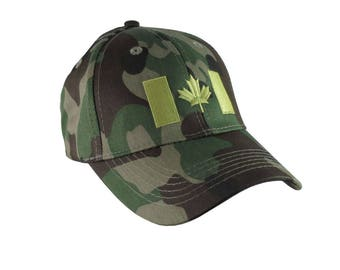 Canadian Flag Lime Green Embroidery Design on a Green Camo Adjustable Structured Baseball Cap for Kids Age 6 to 14 Tone on Tone Fashion Look