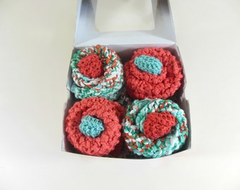 Baby Cupcakes, Washcloth Cupcakes, Four Double Knit Washcloths & Two Sets of Baby Booties in Coral and Sea Green