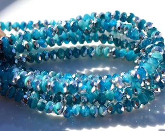 Capri Blue and Silver 5x3mm Czech GLass Rondelle Beads  50