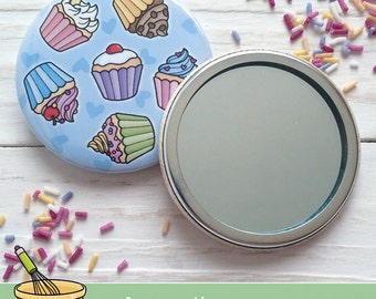 Cupcake Cake Baking 58mm Compact Pocket Mirror - There's always time to bake...