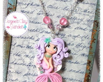 Mermaid in Sea Shell (#2) polymer clay pendant girls necklace by Jogee's Clay Garden