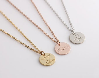 Name Initial Necklace, Dainty Disc Necklace,Monogram Disc Charm, Disc Initial Necklace, Bridesmaid Gift, Birthday Gift,