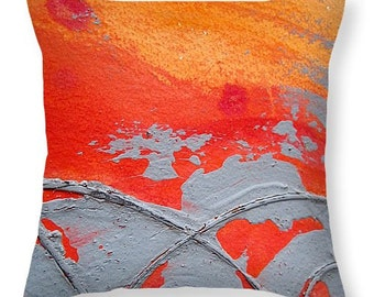 Decorative Pillow, Artsy Throw Pillow , Orange and Gray Design Pillow ,abstract modern look pillow , Sofa, Bed ,Chair, Couch, Home Decor